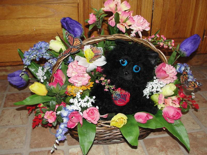 Cemetery Flowers Children Fuzzy Black Cat Basket Spray Custom Rainbow Colors