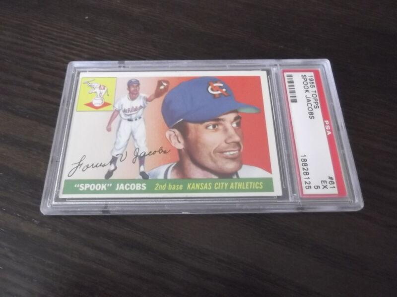1955 Topps Spook Jacobs #61  Baseball Card PSA X 5 Kansas City Athletics