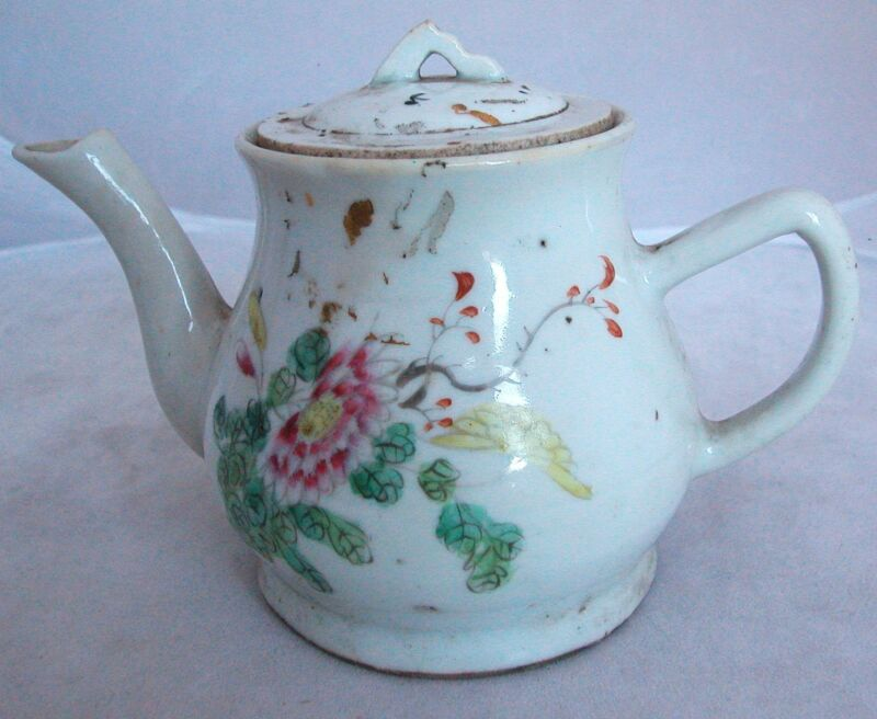 """Antique Chinese Famille Rose Hand Painted Teapot with Flowers & Writing  (6.75"""")"""