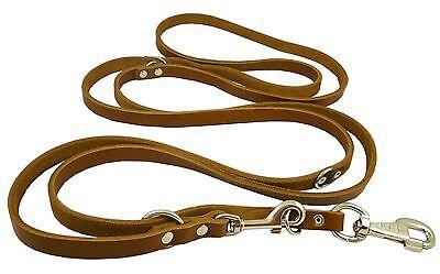 "Bridle Leather Dog Leash Schutzhund 6-Way European Design 60""up to 110"" long"