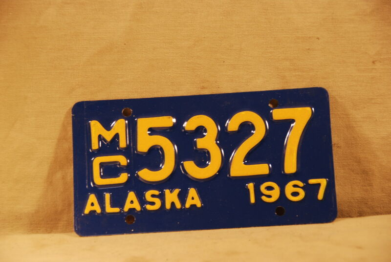 Vintage Alaska Motorcycle License Plate From 1967  5327