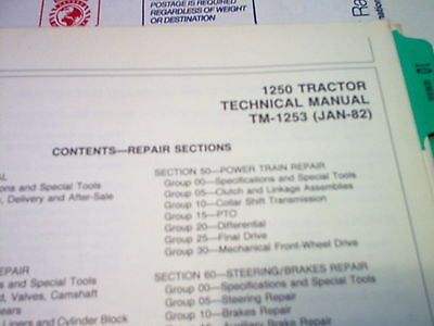 1250 John Deere Compact Utility Tractor Technical  Manual (Original)