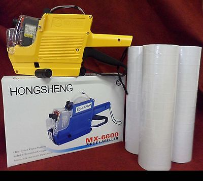Mx-6600 10 Digits 2 Lines Price Tag Gun Labeler 1 Ink 42 Rolls White 500 Tags