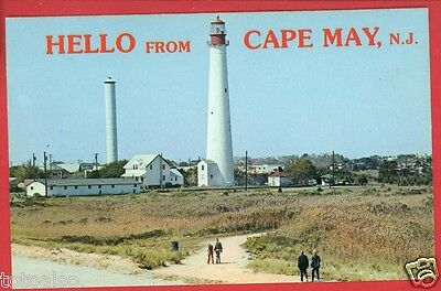 Cape May Point Nj New Jersey Hello From Lighthouse Large Letter   Postcard
