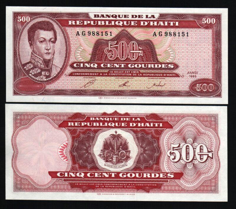 HAITI 500 GOURDES P264 1993 PETION COAT OF ARMS UNC RARE CARIBBEAN BILL BANKNOTE