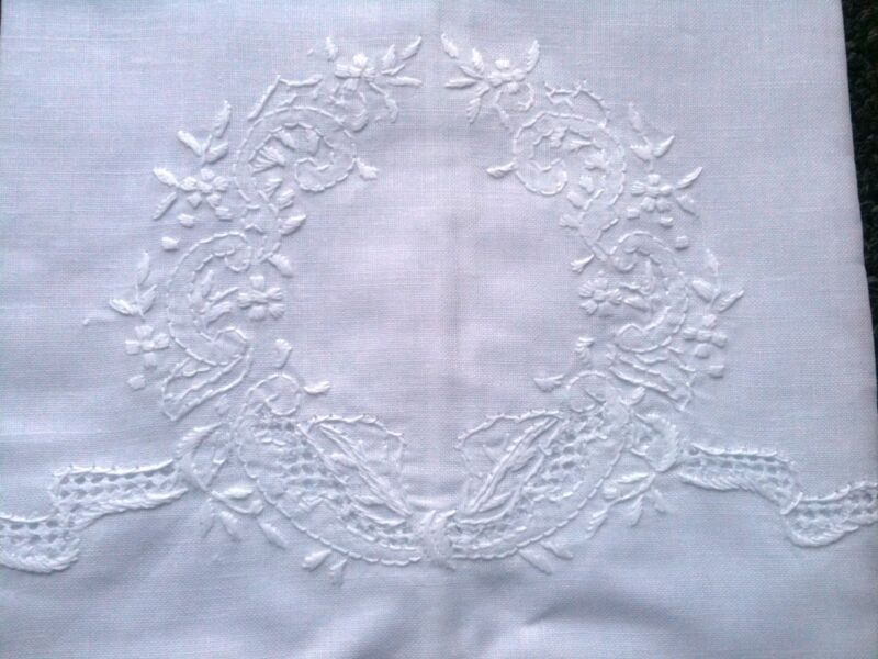 """Embroidery 6 Pieces Fine Linen Cotton Embroidered Lace White Guest Towel 14x22"""""""