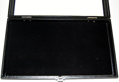 Wood Glass Top Jewelry Display Case Showcase With Black Padded Insert Latch S1