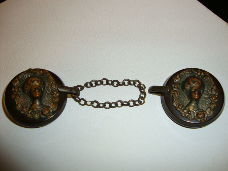 Pair antique bakelite brass cameo buckle capelet Art Nouveau belt clasp clip