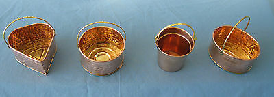 6 pcs.New Mini Copper Baskets with Brass Handles! 4 Styles FREE SHIPPING!