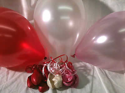 Latex Balloons White, Pale Pink & Red with Curling Ribbon (Red Ballon Spielzeug)