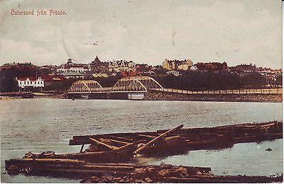 Sweden Sverige Östersund Ostersund fran Frösön Froson old mailed postcard