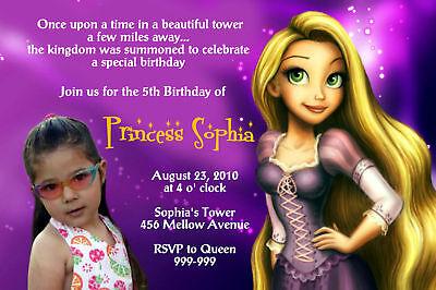 Rapunzel Tangled Princess Photo Birthday Invitation
