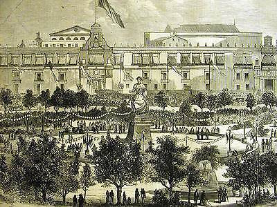 Mexico City GRAND PLAZA ENTRANCE PRESIDENT JUAREZ 1867 Antique Engraving Matted