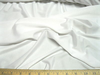 (Discount Fabric Polyester Lycra Spandex 4 way stretch White Matt Finish LY710)