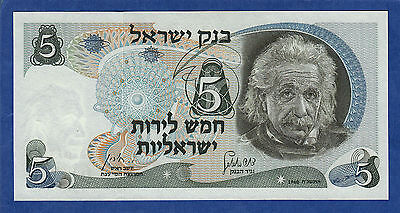 Israel 5 Lirot P 34b 1968 UNC Red serial number Albert Einstein Low Shipping 34