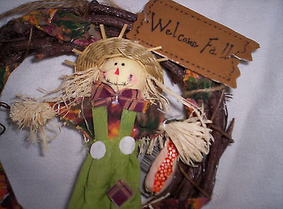Wreath Autumn Fall Thanksgiving Grapevine Boy ScareCrow Doll In Green Pants New