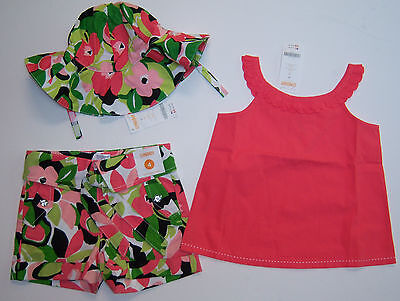 NWT Gymboree Palm Beach Paradise 4 4T Pink Ruffle Tank Top Floral Shorts & Hat