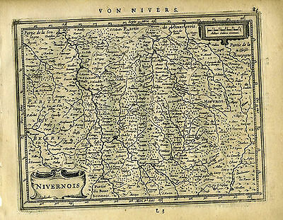 1651 Genuine Antique map central France, Nivernois. Mercator Jansson