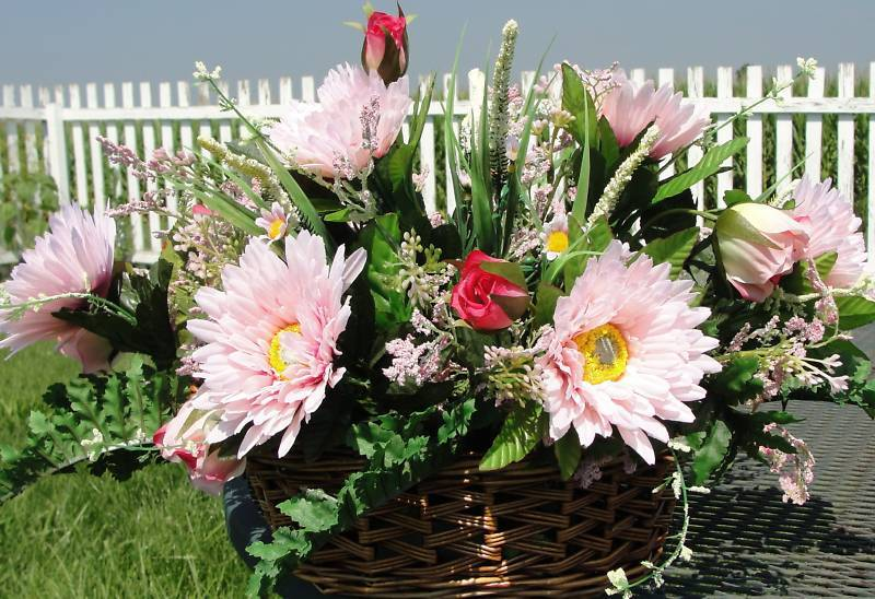 Wicker Basket Silk Flower Arrangement Pink Gerber Daisies Roses Greens