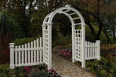 New England Arbors Decorative Nantucket Deluxe Garden Patio Arch w/2 FENCE Wings