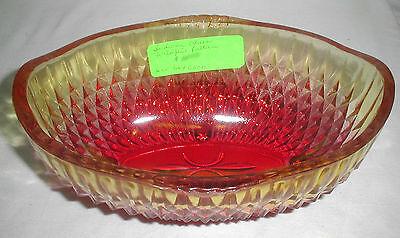 INDIANA GLASS WILDFIRE DIAMOND POINT OVAL BOWL NIB #3393