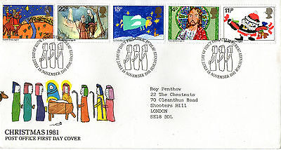 18 NOVEMBER 1981 CHRISTMAS POST OFFICE FIRST DAY COVER BUREAU SHS