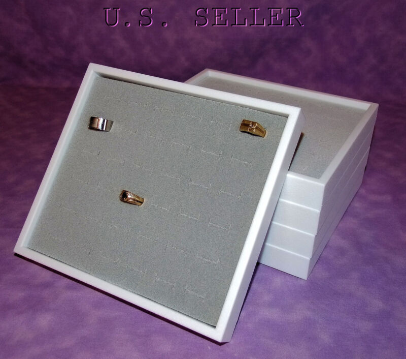 SET OF 5 WHITE STACKABLE TRAYS WITH GRAY 36 RING INSERTS