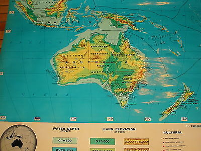 Vintage Austrailia School Pull Down Map - Austrailasia Cram's Physical/Political