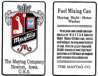Maytag Gas Engine Motor Mixing Can Decal Quart Measure Motor Model 92 31 72 82