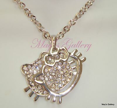 """Hello Kitty Pendant and Charms charm  Necklace Crystal 27"""" Long NEW Bling Bling"""