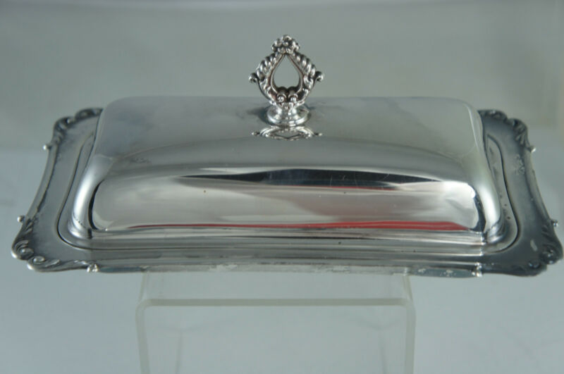 "VINTAGE SILVER PLATE BUTTER DISH W/LID,""CRESCENT"" PATTERN"