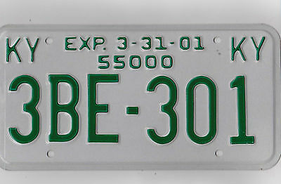 3BE 301 = 2001 Kentucky Truck 55000 License Plate     *Try My Combined Shipping*