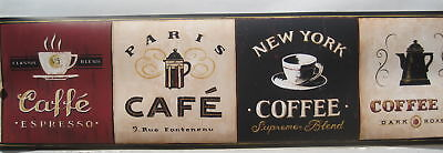 COFFEE CAFE KITCHEN NEW YORK Wallpaper Border 6 3/4
