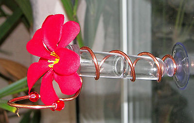 HAND CRAFTED. Copper Window Mount Hummingbird Feeder. Realistic Plumeria Flower