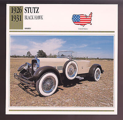 1926-1931 Stutz Black Hawk Car Photo Spec Sheet Stat CARD 1927 1928 1929 1930 ()