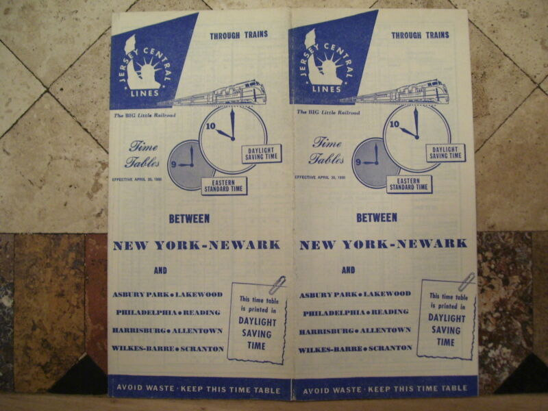 NEW JERSEY CENTRAL RAILROAD PUBLIC TIMETABLE APRIL 30,1950
