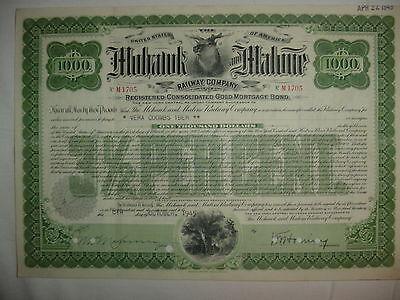 Mohawk & Malone Railroad Company Bond Stock Certificate New York Central