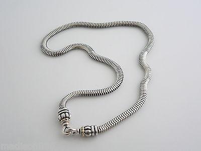 - Lagos Caviar Silver 18K Gold Bead Link Necklace Pendant Snake Hook Chain Rare