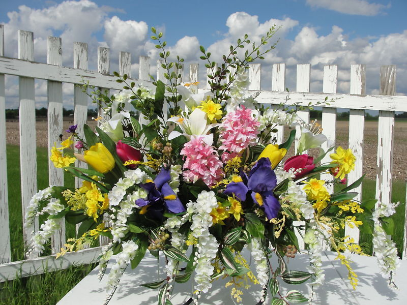 High End Memorial Flowers Wisteria Iris Hyacinth Cemetery Silk Spray Sympathy
