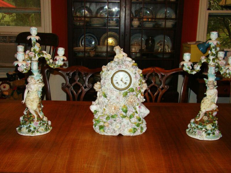 Antique Rococo Revival Figural Encrusted Porcelain Clock & Candelabra 19th c