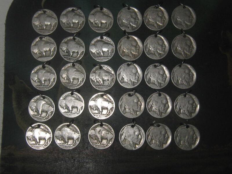 WHOLESALE LOT OF 30 BUFFALO INDIAN HEAD NICKEL USA COIN CHARMS PENDANTS