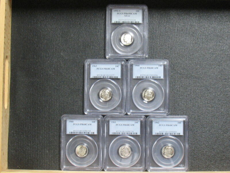 (6) ASST. SILVER ROOSEVELT DIMES - PCGS GRADED - FREE SHIPPING!!!