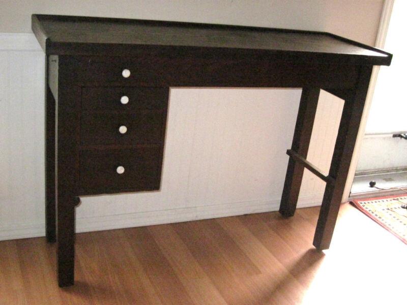 Old VTG Apothecary Table Desk Antique Pharmacy Porcelain Drawer Pulls Medicine