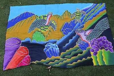 Fahrt Bikini (Sarong Handbemalt Hawaii Turtles Korallenriff Pereo Bikini Kreuzfahrt)