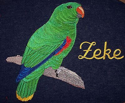 Denim, Embroidered parrot bird cage cover custom made for your Male Eclectus