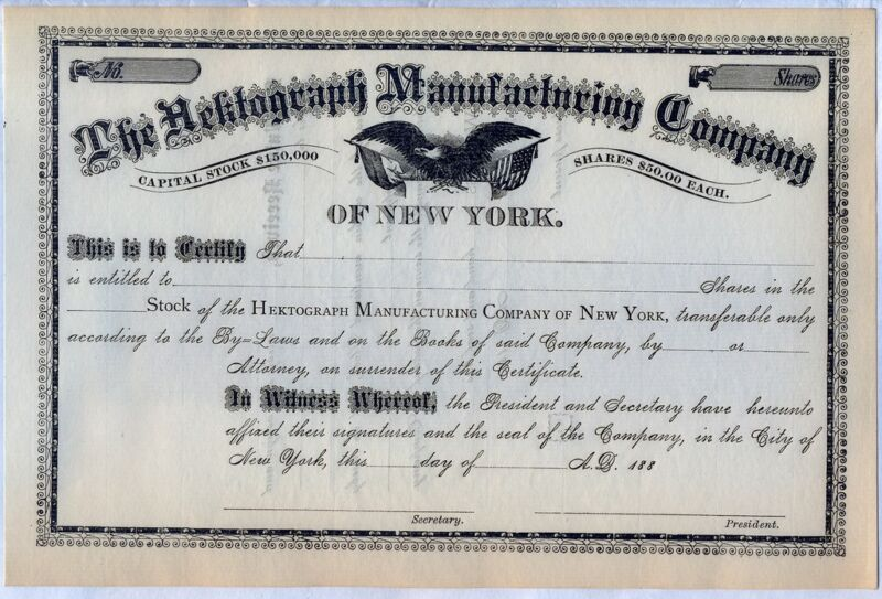Hektograph Manufacturing Company Stock Certificate N.Y