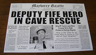 Mayberry Gazette   Barney Fife Don Knotts   Andy Griffith Show   Original Print