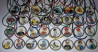 Party City Favors (10 LEGO CITY POLICE FIREMEN BOTTLE CAPS BOTTLECAP NECKLACE BIRTHDAY PARTY)