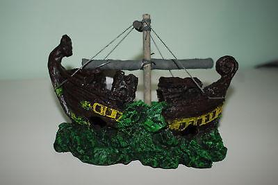 Acuario Detallado Viking Barco Decoración 22 x 10 x 13 CM Para...