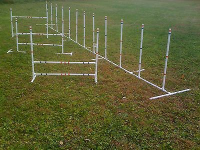 Dog Agility Equipment Training Package 12 Weave Poles and 3 Jumps, Free Shipping